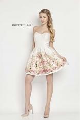 Ecru Sukienka Gorsetowa Rozkloszowana w Pastelowe Róże