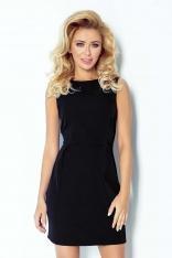 Czarna Sukienka Klasyczna Dopasowana z Zakładkami