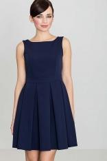 Niebieska Sukienka w Szerokie Fałdy
