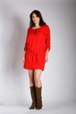 Czerwona Nowoczesna Sukienka z Zamkiem przy Dekolcie PLUS SIZE