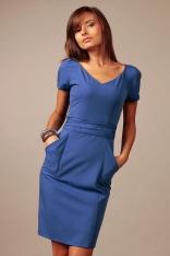 Chabrowa Wizytowa Sukienka z Dekoltem w Szpic z Krótkim Rękawkiem