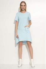 Błękitna Sukienka Asymetryczna o Luźnym Kroju z Kieszonką