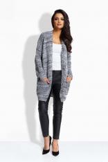 Czarno-Biały Sweter bez Zapięcia z Kieszeniami