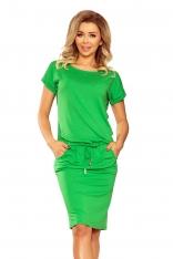 Zielona Codzienna Sukienka ze Sznurkiem w Pasie