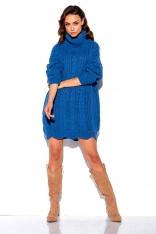 Jeansowy Sweter-Tunika z Golfem w Warkocze