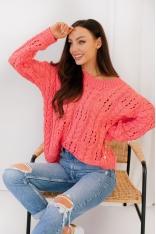 Luźny Sweter z Ozdobnym Wzorem - Koralowy