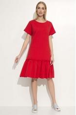 Czerwona Luźna Midi Sukienka Wykończona Falbanką