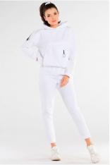 Bawełniane Spodnie z Podwiniętą Nogawką - Białe