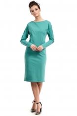 Zielona Prosta Sportowa Sukienka z Kieszeniami