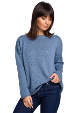 Niebieski Luźny Ażurowy Sweter
