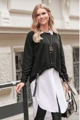 Czarna Krótka Asymetryczna Bluza z Ozdobnymi Tasiemkami