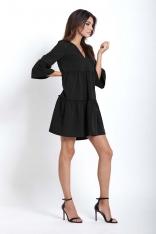 Czarna Rozkloszowana Sukienka z Falbankami