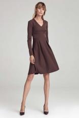 Trapezowa Sukienka z Długim Rękawem - Brązowa
