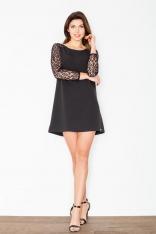 Czarna Trapezowa Sukienka z Koronkowym Długim Rękawem