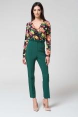 Zielone Eleganckie Spodnie z Wysokim Stanem z Falbanką