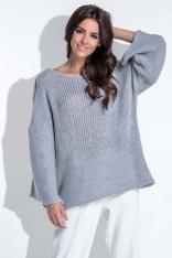 Luźny Szary Sweter z Szerokim Rękawem
