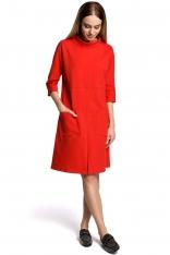 Czerwona Sukienka Trapezowa przed Kolano w Sportowym Stylu z Kieszeniami