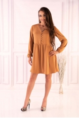 Kamelowa Rozkloszowana Krótka Sukienka z Górą Typu Polo