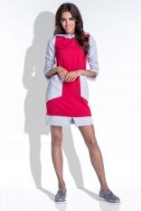 Sportowa Dwukolorowa Czerwona Sukienka z Kapturem