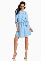 Błękitna Koszulowa Sukienka z Kopertowym Dekoltem