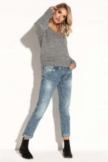 Szary Krótki  Klasyczny Sweter z Dekoltem V