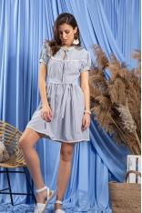 Dziewczęca Sukienka w Granatowe Paseczki - Niebieska