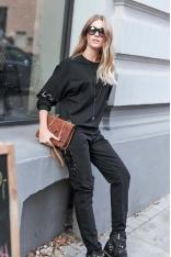 Czarny Dresowy Komplet Bluza i Spodnie z Cekinami