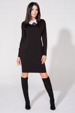 Czarna Sukienka z Dołączonym Kołnierzykiem