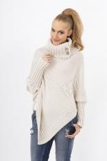 Beżowy Sweter-Ponczo z Golfem z Ozdobnymi Guzikami