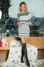 Szara Swetrowa Sukienka z Golfem w Skandynawski Wzór