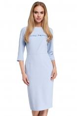 Błękitna Sukienka Ołówkowa Midi z Falbanką