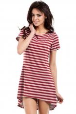 Czerwona Letnia Asymetryczna Sukienka z Krótkim Rękawem