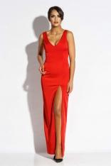 Czerwona Sukienka Wieczorowa Maxi z Długim Rozcięciem