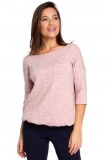Różowy Nietuzinkowy Sweterek z Dekoltem V