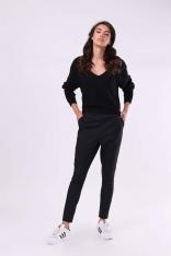 Czarne Wygodne Spodnie z Gumą w Pasie