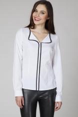 Biała Elegancka Bluzka z Kontrastową Lamówką