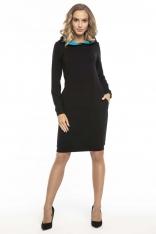 Czarno Niebieska Sportowa Sukienka z Kapturem