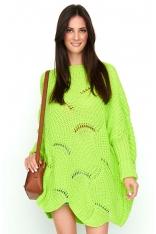Limonkowy Sweter-Ponczo z Warkoczowym Splotem