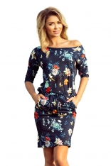 Granatowa Sukienka Ściągana w Kolorowe Kwiaty