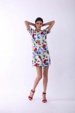 Kwiatowa Nowoczesna Sukienka na Krótki Rękaw
