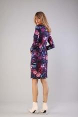 Dopasowana Sukienka z Ozdobnymi Szwami - Kwiaty