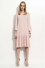 Pudrowa Sukienka w Hiszpańskim Stylu z Wycięciem na Plecach