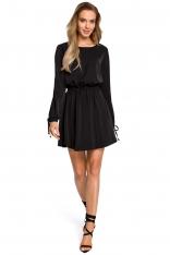 Czarna Rozkloszowana Sukienka z Rozcięciem i Wiązaniem na Rękawach