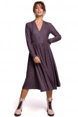 Wzorzysta Rozkloszowana Sukienka z Suwakiem - Model 2