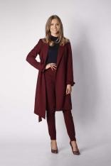 Bordowy Elegancki Płaszcz z Falbanką na Rękawie
