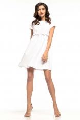 Biała Lekka Zwiewna Sukienka z Mini Rękawkiem