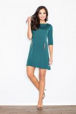 Koktajlowa Zielona Sukienka z Rękawem do Łokcia