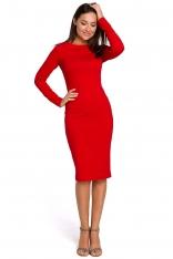 Czerwona Dzianinowa Sukienka Tuba z Łódkowym Dekoltem