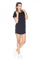 Czarna Sportowa Sukienka-Tunika z Kapturem