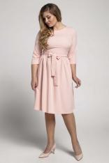 Łososiowa Klasyczna Sukienka z Marszczonym Dołem PLUS SIZE